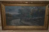 ION MARINESCU (VALSAN) - Peisaj din Malureni - Ulei pe panza - Impecabil - 1895!