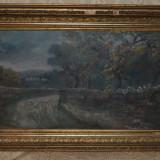 ION MARINESCU (VALSAN) - Peisaj din Malureni - Ulei pe panza - Impecabil - 1895! - Pictor roman, Peisaje, Realism