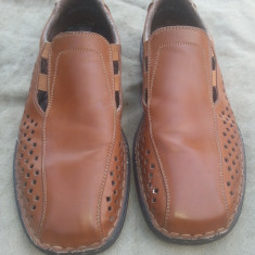 Pantofi de vara din piele Rieker Antistres mar.42 / 26.5cm - Pantofi barbat Rieker, Culoare: Maro, Piele naturala