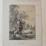 "Nicolaes Berchem ""Pastor cantand la flaut"" gravura veche 1635-1683, Scene gen, Cerneala, Realism"