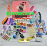 Cumpara ieftin Kit set unghii false - lampa UV,pile,tipsuri - KIT 4 gel ccn + 12 gel color