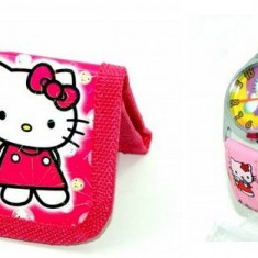 Set ceas de mana si portofel Hello Kitty - Ceas copii Disney