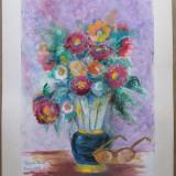 Natura statica cu flori si ochelari - semnata Ghilea Aurelia, Cluj 1995 - Pictor roman, Acuarela, Impresionism