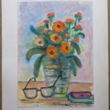 Natura statica cu flori - semnata Ghilea Aurelia, Cluj 1995 - Pictor roman, Acuarela, Impresionism