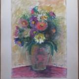 Vaza cu flori - semnata Ghilea Aurelia, Cluj 1995 - Pictor roman, Acuarela, Impresionism