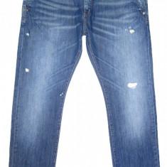 (BATAL) Blugi ZARA - (MARIME: 38 ) - Talie = 100 CM / Lungime = 115 CM - Blugi barbati Zara, Culoare: Albastru, Cu rupturi, Drepti, Normal