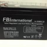 Acumulator 12V - 7Ah  plumb VRLA UPS sau alarma de casa FBinternational Rombat