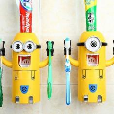 Dispenser dozator Minions pasta de dinti suport periuta minion minioni +CADOU!