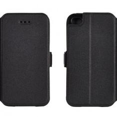 Husa iPhone 4 4S Flip Case Inchidere Magnetica Black - Husa Telefon Apple, Negru, Piele Ecologica, Cu clapeta, Toc