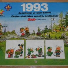 Calendar 1993 - PENTRU SANATATEA VOASTRA, SCUTISMUL. SCOUT. CERCETASI - Calendar colectie