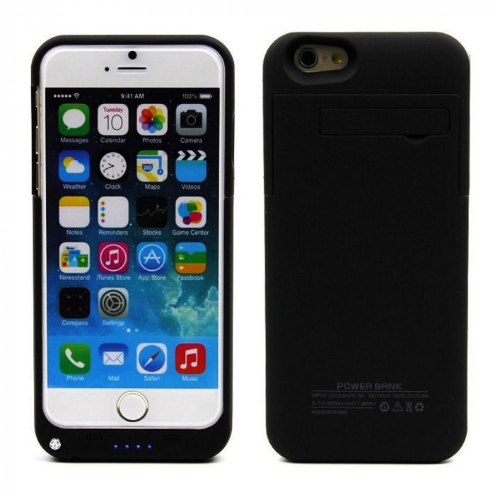 "Baterie externa acumulator 3200 mah POWER BANK BLACK Iphone 6 4,7"" + folie foto mare"