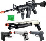 Cumpara ieftin SUPER SET 5 ARME AIRSOFT 6mm +2000 BILE BONUS,DISTRACTIE MAXIMA,TINTE LASER.