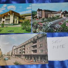 Lot 3 CP SATU MARE (Carti postale vechi, Vederi Romania), Circulata, Fotografie, Romania de la 1950