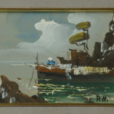 Tablou cu rama din lemn si sticla - pictura peisaj - semnat !!!!!!!!!!, Peisaje, Ulei, Altul