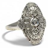 Inel art deco anul 1930 aur 14crt in montura argint si diamante superba
