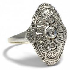 Inel art deco anul 1930 aur 14crt in montura argint si diamante superba - Inel diamant, Carataj aur: 14k, Culoare: Galben, 46 - 56