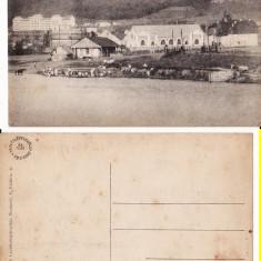 Targu Mures- Liceul militar si Fabrica de gaz- tema militara, rara - Carte Postala Transilvania 1904-1918, Circulata, Printata