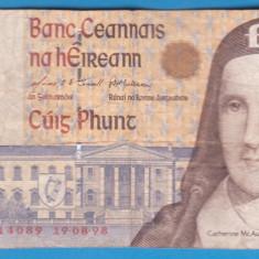 (1) BANCNOTA IRLANDA - 5 POUNDS (LIRE) 1998, CIRCULATA - bancnota europa