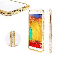Bumper cristale aluminiu gold auriu Samsung Galaxy S5 i9600 G900 + folie ecran - Bumper Telefon