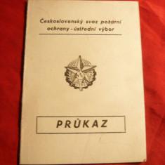 Pompieri -  Brevet pt. Insigna de Onoare pt. Merit Cehoslovacia -CC Paza Incendi