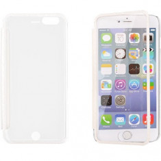 Husa iPhone 4 4S Mega View Transparenta White - Husa Telefon Apple, Alb, Plastic, Cu clapeta, Toc
