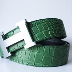 HERMES PARIS Curea Piele Naturala Crocodil Reversibila Made in France - Curea Dama Hermes, Marime: Masura unica, Culoare: Verde