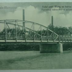 OCNA MURES - PODUL PESTE MURES CU FABRICA SOLVAY - INCEPUT DE 1900 - Carte Postala Transilvania 1904-1918, Necirculata, Fotografie