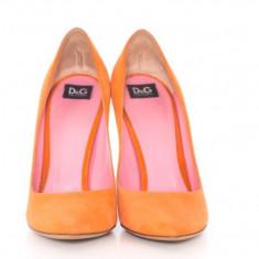 Pantofi stiletto D&G piele întoarsă, portocalii 39, vintage, ORIGINALI - Pantof dama D&G, Culoare: Din imagine