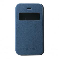 Toc My-Wow iPHONE 4/4S Albastru - Husa Telefon Atlas, Piele Ecologica