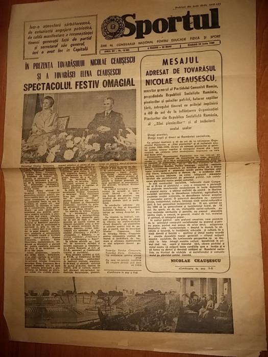 ziarul sportul 24 iunie 1989-40 de ani de la infintarea organizatiei pionierilor