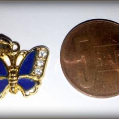 Medalion metal auriu emailat - fluture