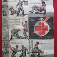 Afis - pliant vechi protectia muncii din comunism - prim ajutor electrocutare