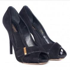 Pantofi dama Louis Vuitton negri, piele întoarsă 39 Vintage, ORIGINALI - Pantof dama Louis Vuitton, Culoare: Negru