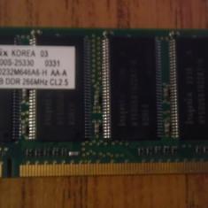 Memorie ram laptop ddr1 256 mb 266 mhz hynix