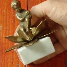 Statueta copil - Bronz alama si marmura - model deosebit !!! - Metal/Fonta