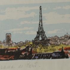 Rama din lemn cu sticla - Panorama de Paris - original / semnata !!! - Tablou autor neidentificat, Peisaje, Acuarela, Altul