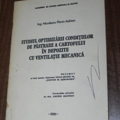 OPTIMIZAREA CONDITIILOR DE PASTRARE A CARTOFULUI IN DEPOZITE CU VENTILATIE, Alta editura
