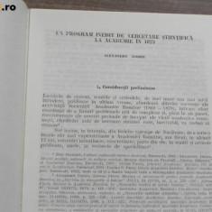 UN PROGRAM INEDIT DE CERCETARE STIINTIFICA LA ACADEMIE IN 1873 extras, Alta editura
