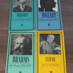 LOT 4 CARTI BIOGRAFII COMPOZITORI - SKRIABIN, MOZART, BRAHMS, LEHAR - Carte Arta muzicala