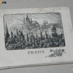 Pliant mapa 12 ilustratii alb-negru PRAGA CEHOSLOVACIA, Necirculata, Printata