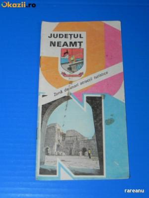 JUDETUL NEAMT - ZONA DE MARI ATRACTII TURISTICE. Pliant brosura turistica foto