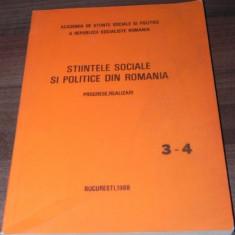 STIINTELE SOCIALE SI POLITICE IN ROMANIA. PREGRESE, REALIZARI NR 3-4 1988 - Carte Sociologie