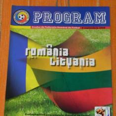 Program fotbal - ROMANIA - LITUANIA 6 SEPTEMBRIE 2008 - Program meci