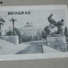 MAPA PLIANT ALBUM 12 FOTOGRAFII ALB-NEGRU BELGRAD. IUGOSLAVIA perioada comunista, Serbia, Necirculata, Printata
