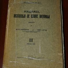 ALEX LAPEDATU- ANUARUL INSTITUTULUI DE ISTORIE NATIONALA - VOL III - 1924-1925