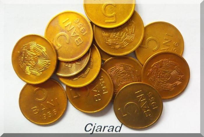 Lot / Set 8 MONEDE de 5 Bani - 1956 România (xf / a.UNC)  *cod 322