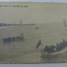 1 - CONSTANTA - BARCI CU MARINARI IN PORT - Carte Postala Dobrogea 1904-1918, Necirculata, Fotografie
