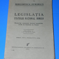 LEGISLATIA STATULUI NATIONAL ROMAN VOL 5/ 1-31 IANUARIE 1941 - Carte Legislatie