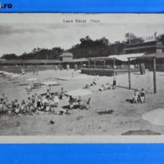 CARTE POSTALA ILUSTRATA VECHE 1933 - LACU lacul SARAT PLAJA circulata. interbelica. judetul BRAILA (v004