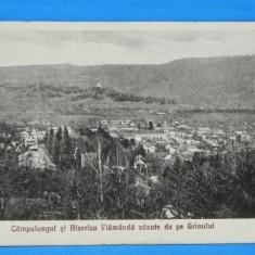 Carte postala veche CAMPULUNGUL SI BISERICA FLAMANDA VAZUTE DE PE GRINULUI. circulata 1934. campulung. judetul arges (v034 - Carte Postala Muntenia dupa 1918